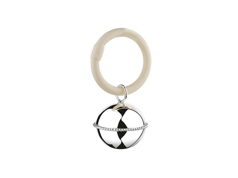 Rammelaar Bal parel aan ring (B90 zwaar verzilverd)