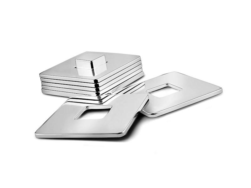 Onderzetters Vierkant, 6 stuks met houder