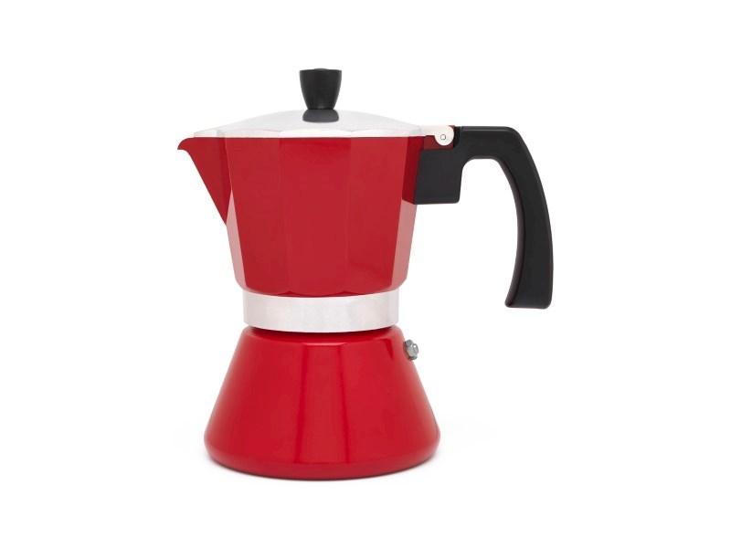 Espressomaker Tivoli, rood, 6 cups, rvs/aluminium