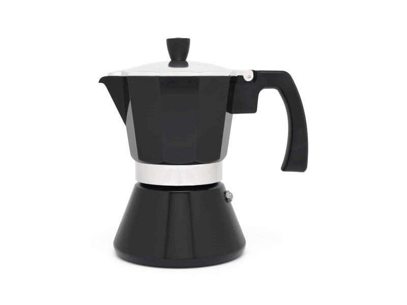 Espressomaker Tivoli, zwart, 6 cups, rvs/aluminium