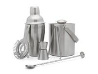 Barset 6-delig (shaker, barmaat, barzeef, lepel met stamper, ijsemmer en tang)