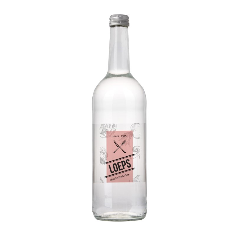 Glazen fles met 750 ml bronwater