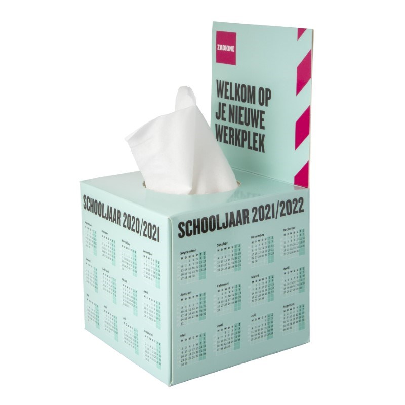 Tissue box met flap