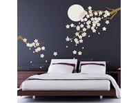 Walplus Home Decoratie Sticker - Kersenbloesem onder Maanlicht