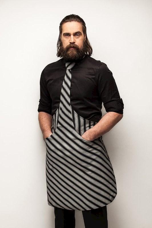 Tie&Apron Stropdas Schort Chef Zwart/Grijs Gestreept
