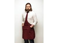 Tie&Apron Stropdas Schort Chef Zwart/Bordeaux Gestreept