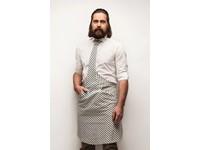 Tie&Apron Stropdas Schort Chef Wit/Blauw Gestreept