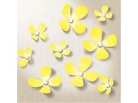 Walplus 3D Decoratie Sticker - 3D Bloemen met 9 Swarovski Kristallen - Geel