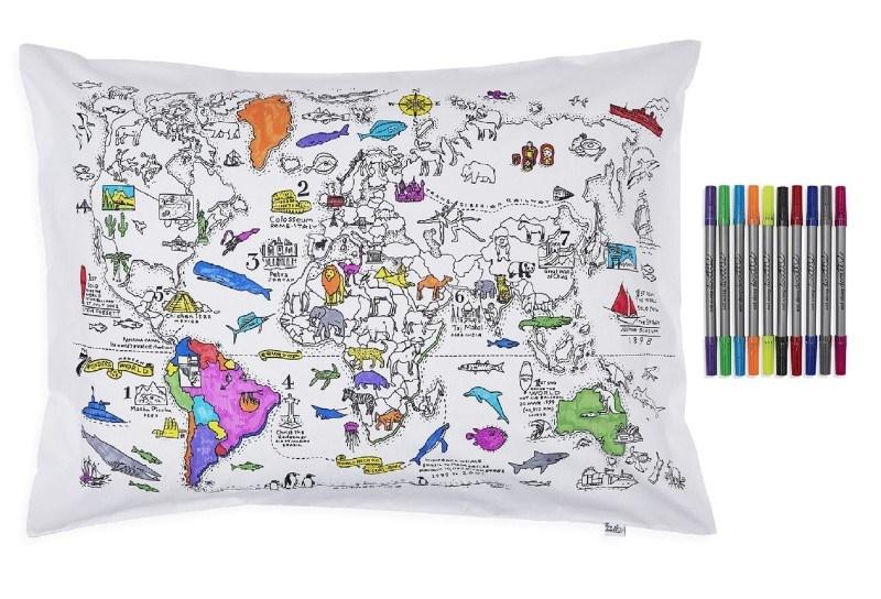 EatSleepDoodle Kleur & Leer Wereld Kaart Kussensloop - Om in te kleuren