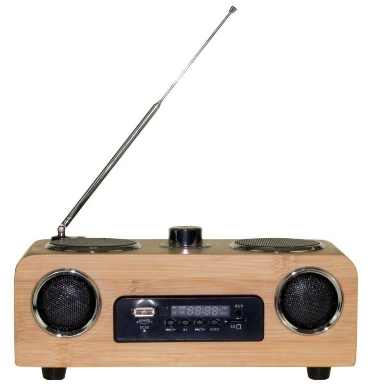 United Entertainment 3G Draagbare Stereo Speaker - FM Radio AUX/USB/SD - Bamboe