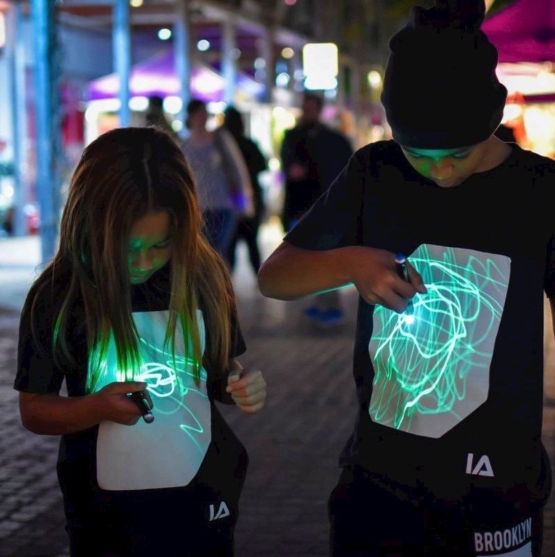 IA Interactief Glow T-shirt voor Kinderen - Super Groen - Zwart - 12-14 Jaar