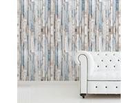 Walplus Houtstroken - Muur Decoratie Sticker - Grijs/Blauw - 4 bladen van 60x90 cm