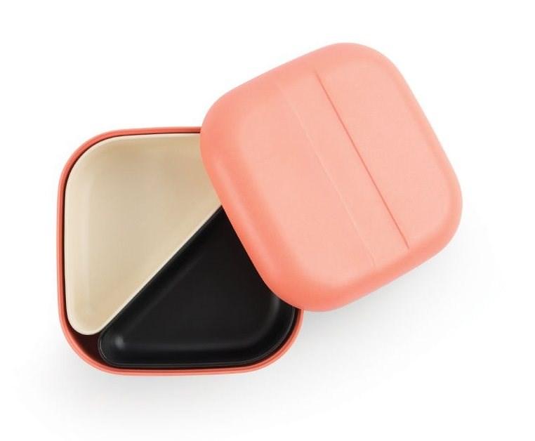 Ekobo GO Bento Lunchbox Bamboevezel Vierkant - 15x15x6,5 cm - Koraal