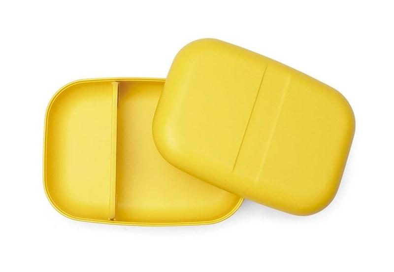 Ekobo GO Bento Lunchbox Bamboevezel Rechthoekig - 19x14x6,5 cm - Lemon