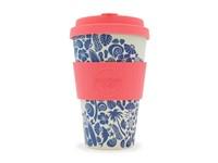 Ecoffee Cup Waimea Bay - Bamboe Beker - 400 ml - Surfers Against Sewage - met Roze Siliconen