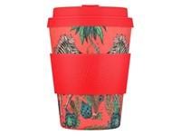 Ecoffee Cup Lost World - Bamboe Beker - 350 ml - Emma Shipley - met Rood Siliconen