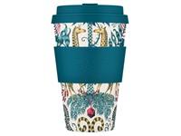 Ecoffee Cup Kruger - Bamboe Beker - 400 ml - Emma Shipley - met Blauw Siliconen