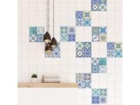 Walplus Mediterrane Mozaiek - Muursticker/Tegelsticker - Klassiek Blauw - 20x20 cm - 12 stuks