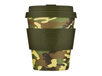 Ecoffee Cup Mike & Eric - Bamboe Beker - 250 ml - met Army Groen Siliconen