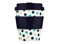 Ecoffee Cup Blue Polka - Bamboe Beker - 250 ml - met Donkerblauw Siliconen
