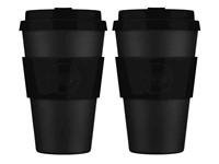 Ecoffee Cup Kerr & Napier - Bamboe Beker - 400 ml - met Zwart Siliconen - Set van 2