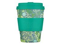 Ecoffee Cup Seaweed - Bamboe Beker - 350 ml - William Morris - met Turquoise Siliconen