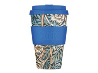 Ecoffee Cup Lily - Bamboe Beker - 400 ml - William Morris - met Blauw Siliconen