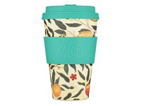 Ecoffee Cup Pomme - Bamboe Beker - 400 ml - William Morris - met Turquoise Siliconen