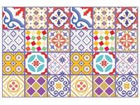 Walplus Kleurrijke Marokkaanse Tegelsticker - Multikleur - 15x15 cm - 24 stuks