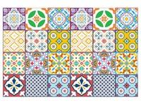Walplus Klassiek Mediterraanse Kleurrijke Tegelsticker 2 - Multikleur - 15x15 cm - 24 stuks