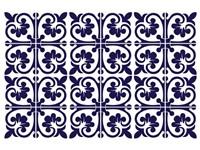 Walplus Betsy Monochromatisch Victoriaanse Tegelsticker - Donkerblauw/Wit - 15x15 cm - 24 stuks