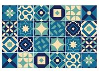 Walplus Debbie Tegelsticker - Donkerblauw/Blauw - 15x15 cm - 24 stuks