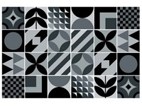 Walplus LaBelle Geometrische Tegelsticker - Zwart/Grijs - 15x15 cm - 24 stuks