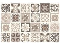 Walplus Noor Mediterraanse Tegelsticker - Donkergrijs/Grijs/Wit - 15x15 cm - 24 stuks