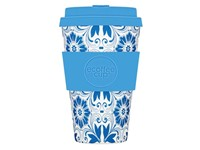 Ecoffee Cup Delft Touch - Bamboe Beker - 400 ml - met Blauw Siliconen