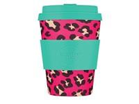 Ecoffee Cup Verity Pink-Mist - Bamboe Beker - 350 ml - met Turqoise Siliconen