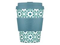 Ecoffee Cup Porto Koufo - Bamboe Beker - 350 ml - met Lichtblauw Siliconen