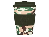 Ecoffee Cup Tulsa Tuxedo - Bamboe Beker - 350 ml - met Army Groen Siliconen