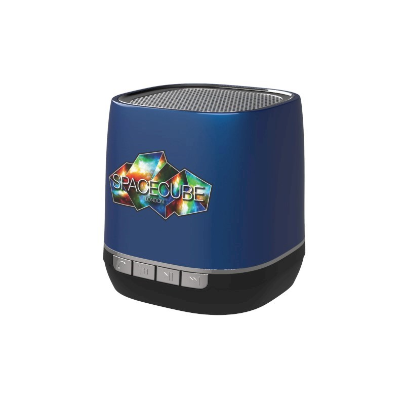Retro Speaker Print in full color Blauw met bedrukking in full color