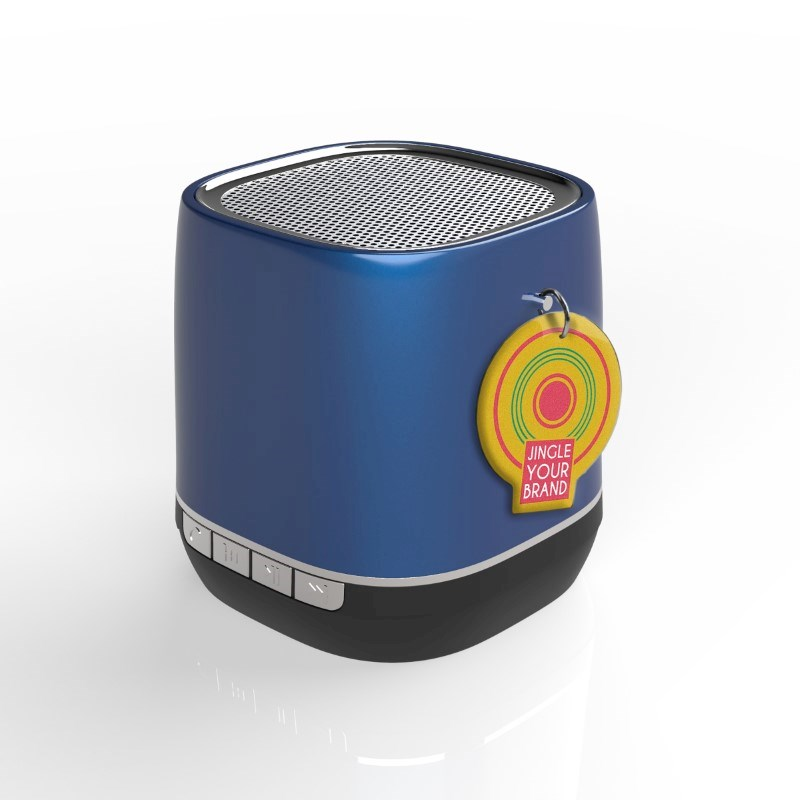 Retro Speaker Label Blauw met label met bedrukking in full color