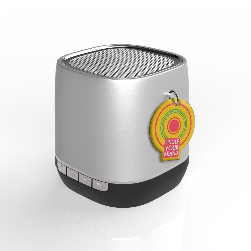 Retro Speaker Label Zilver met label met bedrukking in full color