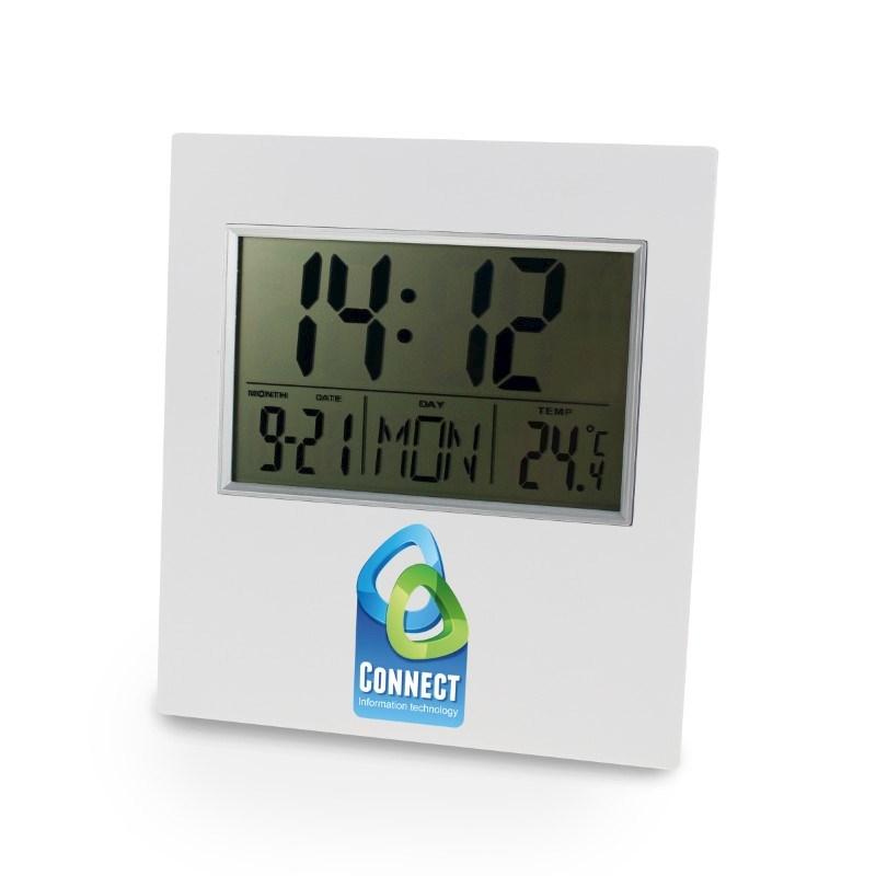 Digital Clock Wit met bedrukking in full color