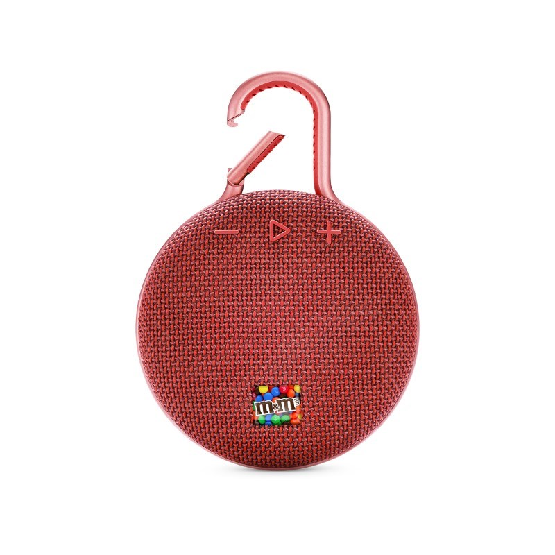 JBL Clip 3 Personalized Fiesta Red met full color doming