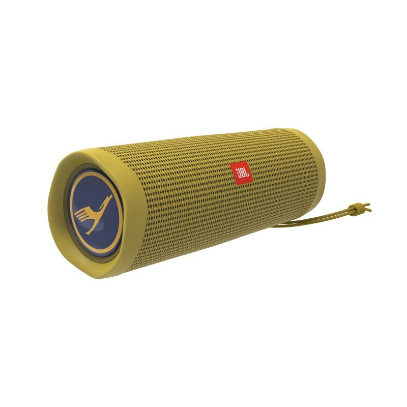 JBL Flip 5 Personalized Doming in full color (2x) Mustard Yellow met full color doming
