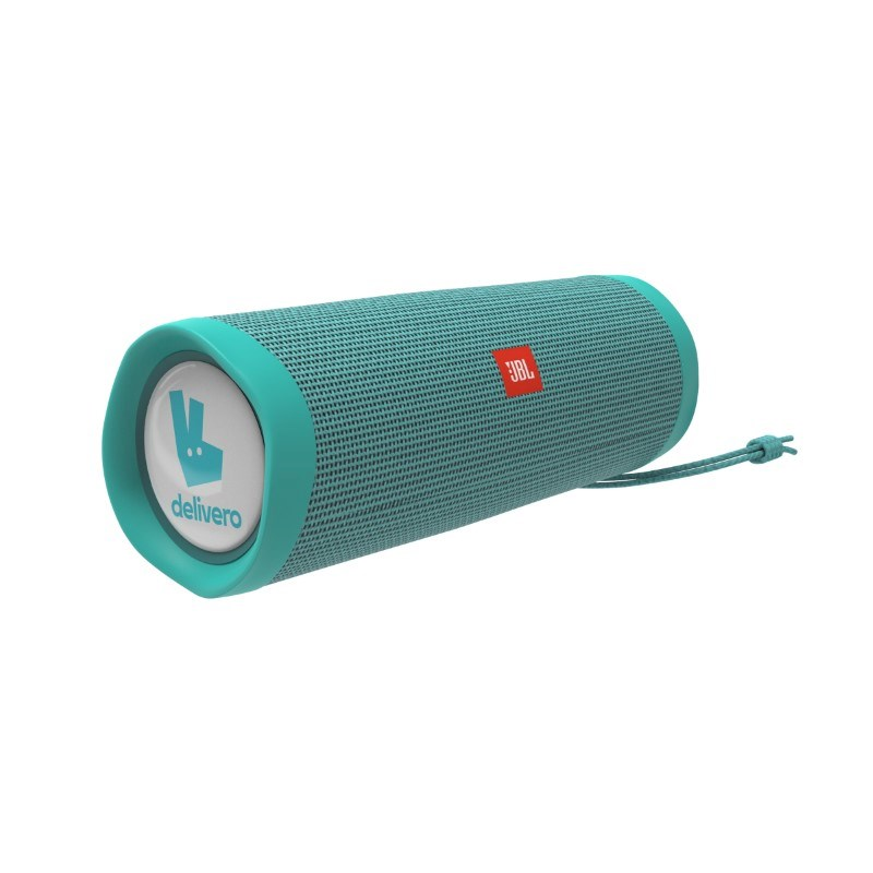 JBL Flip 5 Personalized Doming in full color (2x) Teal met full color doming