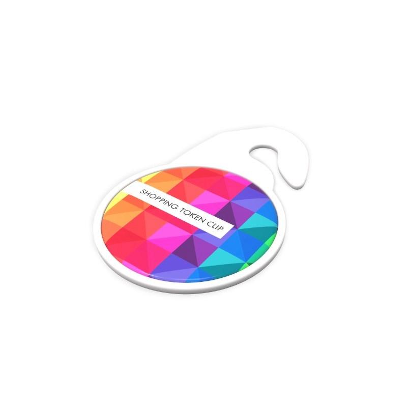 Key Ring Shopping Token Clip Wit met full color doming