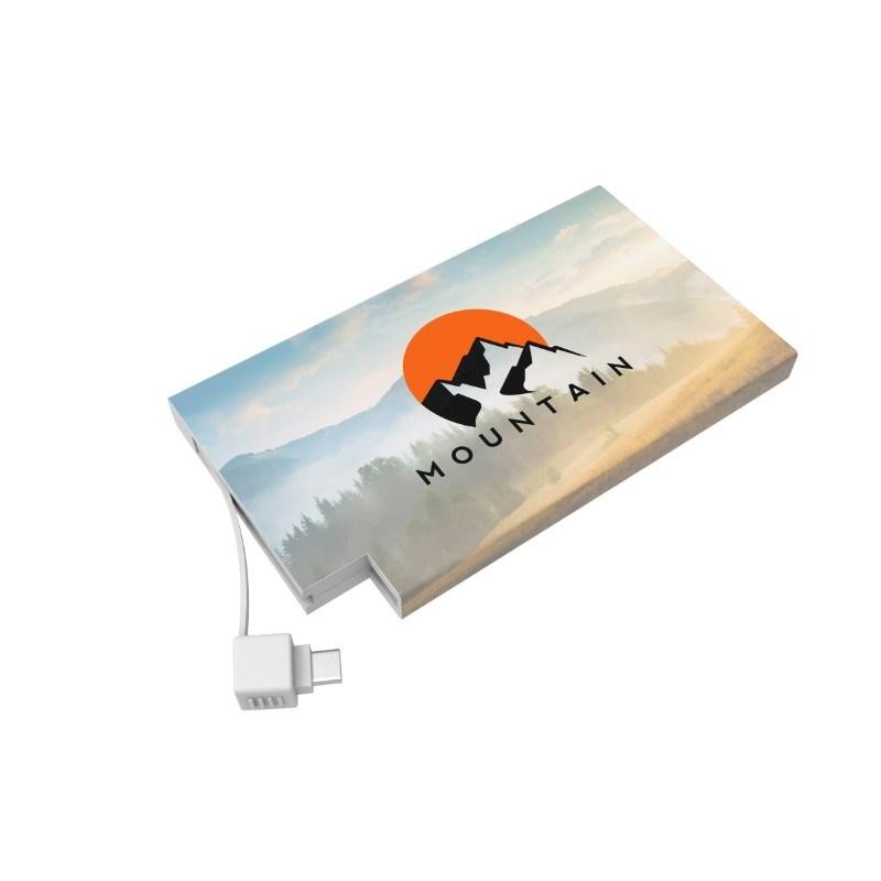 Powerbank Rome-C 4000 mAh (Apple&Android) Max Print Elke kleur mogelijk met bedrukking in full color