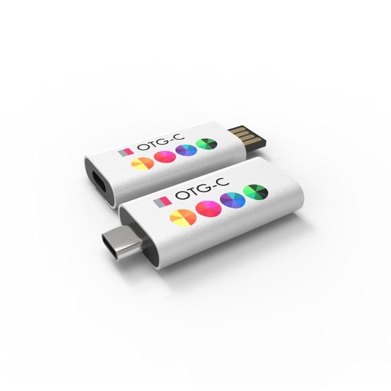 USB Stick OTG Slide C 16 GB Premium Zilver met bedrukking in full color