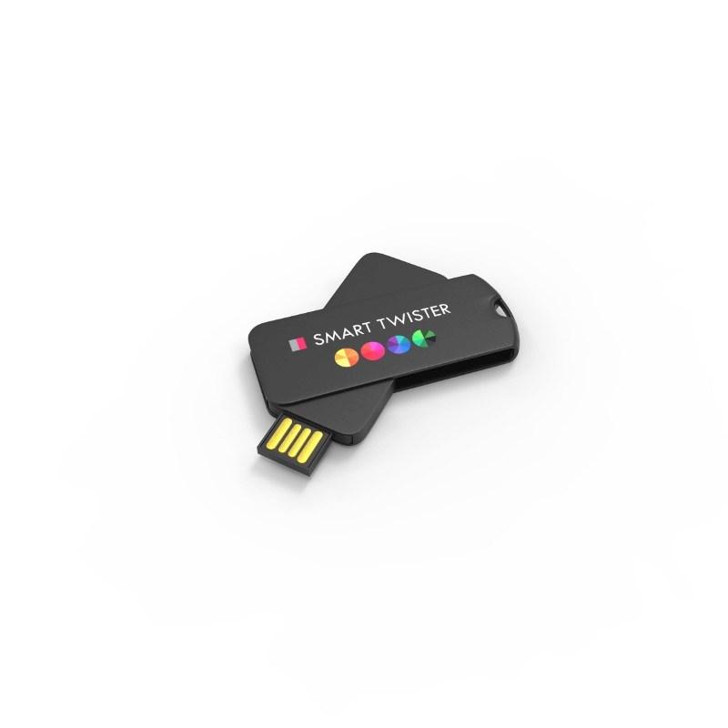 USB Stick Smart Twister 4 GB Premium Zwart met bedrukking in full color