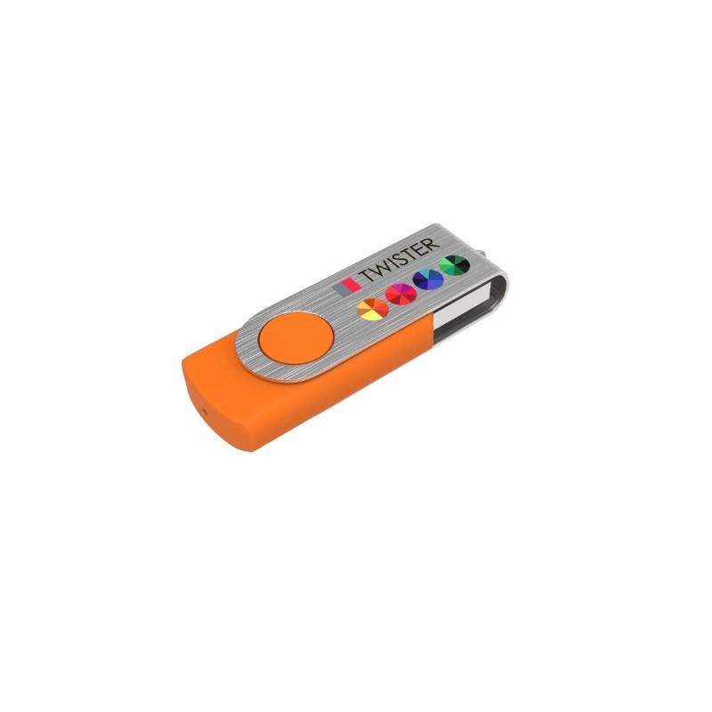 USB Stick Twister 16 GB Premium Oranje met bedrukking in full color